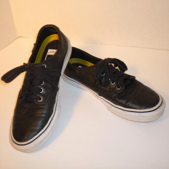 a75d108c30 VANS 6 Black Leather Skater Sneaker Ladies Shoe